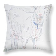 Goat Drawing Throw Pillow