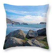 Goat Rock State Beach Near Russian River Outlet Near Jenner-ca Throw Pillow