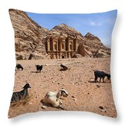 Goats In Front Of The Monastery At Petra In Jordan Throw Pillow