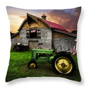 God Bless America Throw Pillow by Debra and Dave Vanderlaan