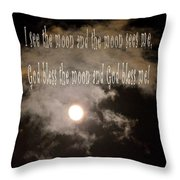 God Bless The Moon Throw Pillow