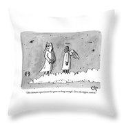 God Is Seen Standing On A Cloud Talking To An Throw Pillow by Farley Katz