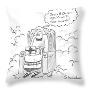 God Opens A Gift And Complains About Receiving Throw Pillow
