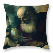God The Father And Angel Throw Pillow
