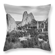Gods Colorado Garden In Black And White    Throw Pillow