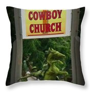 Gods Country Cowboy Church Throw Pillow