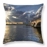 God's Light Over West Palm Beach Throw Pillow