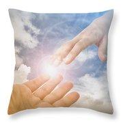 God's Saving Hand Throw Pillow