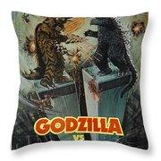 Godzilla Vs Megalon Poster Throw Pillow