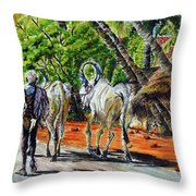 Going Home After Bathing Throw Pillow