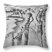 Going Home Bw Throw Pillow
