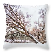 Going Softly Into Winter Throw Pillow