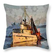 Going To Night Fishing Throw Pillow