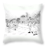 Walking To School Throw Pillow