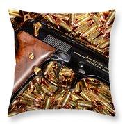 Gold 9mm Beretta With Brass Ammo Throw Pillow