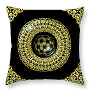 Gold And Black Stained Glass Kaleidoscope Under Glass Throw Pillow