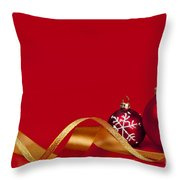 Gold And Red Christmas Decorations Throw Pillow