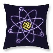 Gold And Silver Line Atomic Structure Throw Pillow