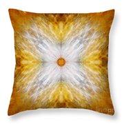 Gold And White Light Mandala Throw Pillow