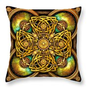 Gold Celtic Cross Throw Pillow