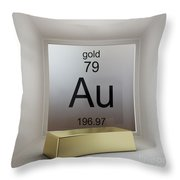 Gold Chemical Element Throw Pillow