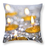 Gold Christmas Candles Throw Pillow