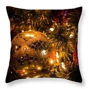 Gold Christmas Ornament Throw Pillow