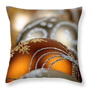 Gold Christmas Ornaments Throw Pillow by Elena Elisseeva