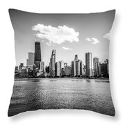 Gold Coast Skyline In Chicago Black And White Picture Throw Pillow