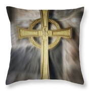 Gold Cross Throw Pillow