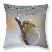 Gold Finch On A Snowy Twig With Verse Throw Pillow