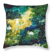 Gold Fish Pond Throw Pillow