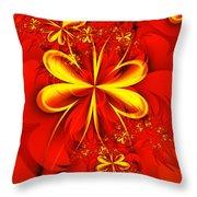 Gold Flowers Throw Pillow