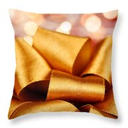 Gold Gift Bow With Festive Lights Throw Pillow