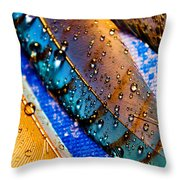 Gold Jay Feathers Throw Pillow