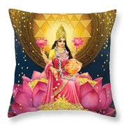 Gold Lakshmi Throw Pillow