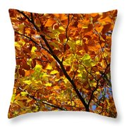 Gold Leaves Of Autumn Throw Pillow