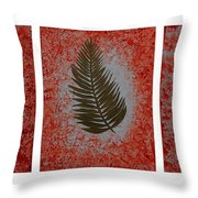 Gold Leaves On Orange Triptych Throw Pillow