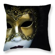 Gold Mask Throw Pillow