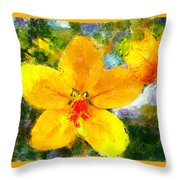 Gold Medallion Flower Throw Pillow