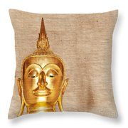 Gold Painted Buddha Statue Throw Pillow