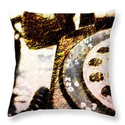 Gold Rotary Phone Throw Pillow