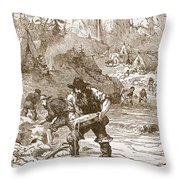 Gold Washing In California, From A Book Throw Pillow
