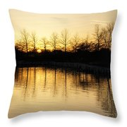 Golden And Peaceful - A Sunset On Lake Ontario In Toronto Canada Throw Pillow