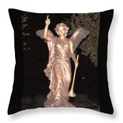 Golden Angel In The Night Throw Pillow