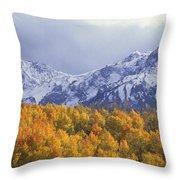 Golden Aspens With Mt. Sneffels Throw Pillow