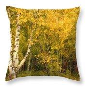 Golden Autumn Forest Mixed Media Painting Throw Pillow