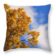 Golden Autumn Leaves And Blue Sky Throw Pillow