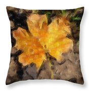 Golden Autumn Maple Leaf Filtered Throw Pillow