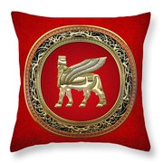 Golden Babylonian Winged Bull  Throw Pillow
